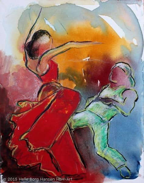 Farverig akvarel af flamencodanser og street-dancer