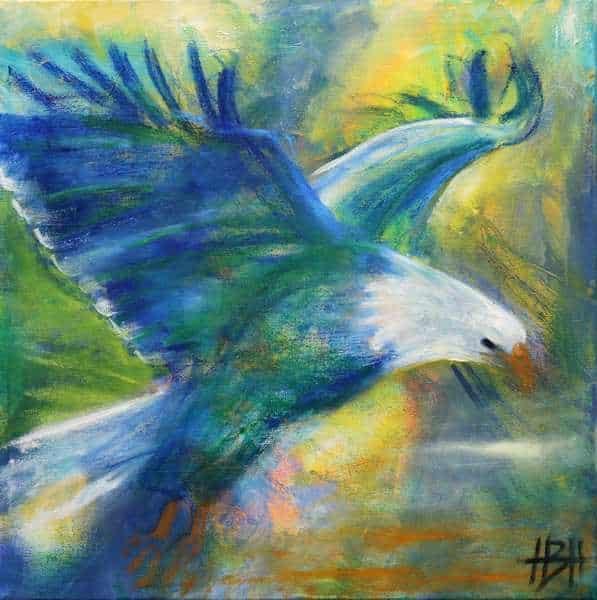 Maleri af flyvende ørn