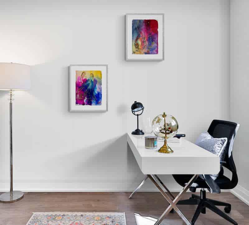 Små malerier i hjemmekontoret