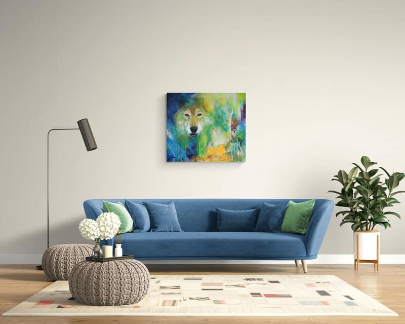 Maleri af ulv i stuen over sofaen - dyremalerier