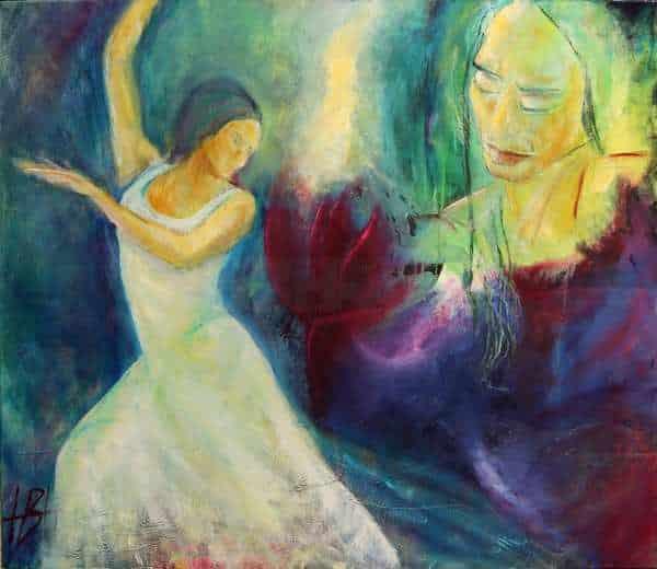 Maleri af danser i hvid kjole og kvinde, der kigger på en blomst