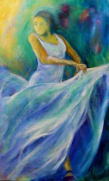 Maleri af flamencodanser i smalt højt format. Danseren er i en lys blå kjole og svinger skørtet omkring sig