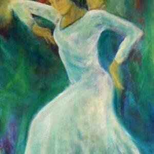 Maleri af danser i hvid kjole