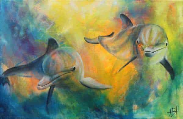 Maleri af delfiner under vandet