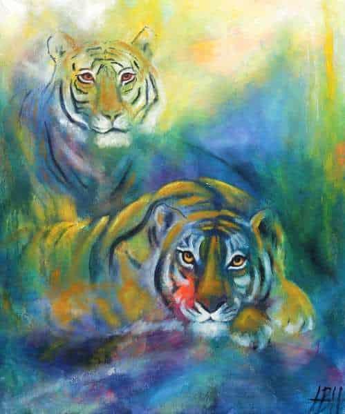 malerie af to tigre - malerier af vilde dyr