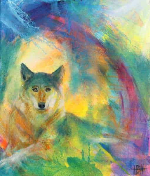 Maleri af ulv i mange farver