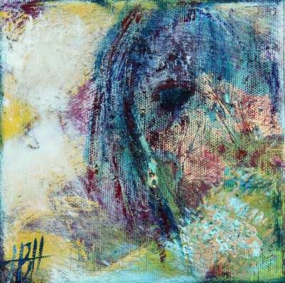 figurativt maleri på abstrakt baggrund