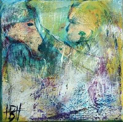 abstrakt maleri med motiv