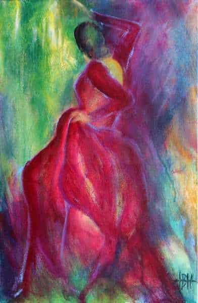 Maleri i violette og bå farver af flamenco danser