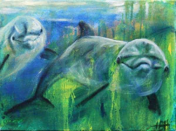 maleri af delfiner