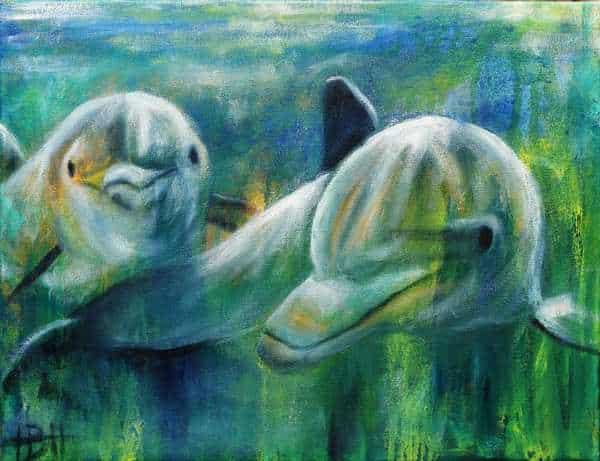 delfiner malet i olie