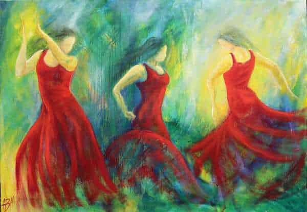 kunst flamencodans - tre flamenco dansere i røde kjoler