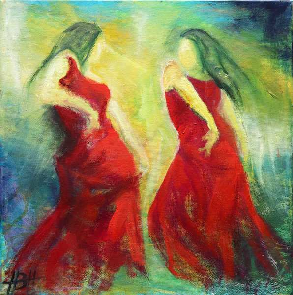 maleri flamenco - to dansere i røde kjoler