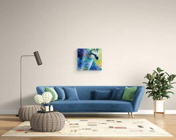 Små eller store malerier over sofaen