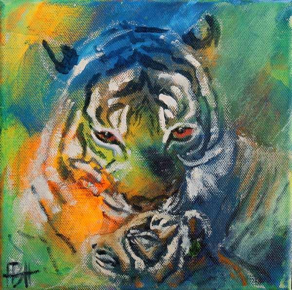 Maleri af tiger og unde