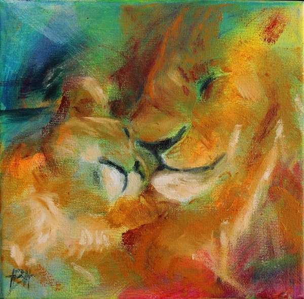 maleri af løve og unge i varme farver