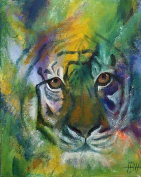 Maleri af tiger der kigger lige på dig