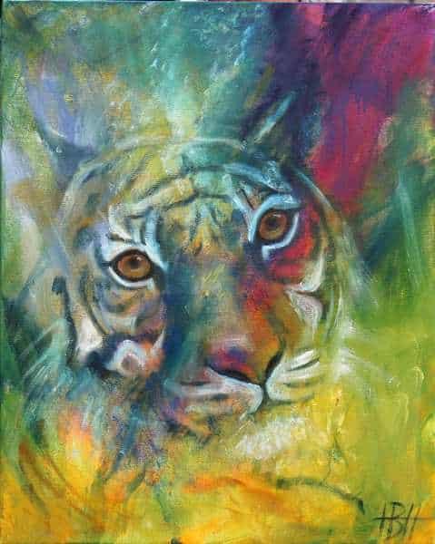 farverigt maleri af en tiger