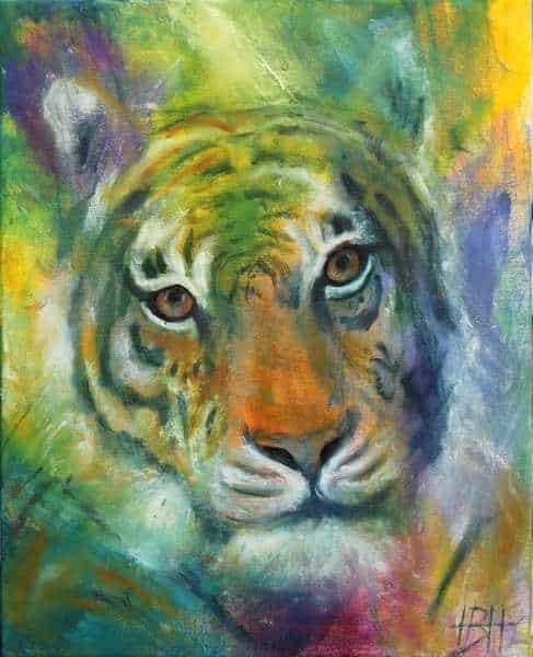maleri af en tiger i nærbillede