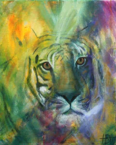 maleri af tiger i mange farver